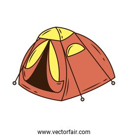 red camping tent tool line and fill style icon