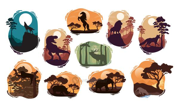 wild ten animals fauna silhouettes scenes
