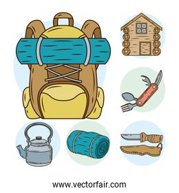 travelbag with bundle of camping set line and fill icons