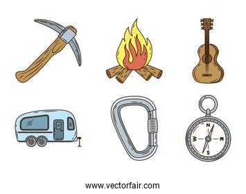 bundle of six camping line and fill icons