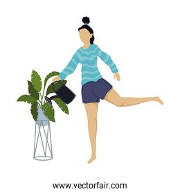 young woman watering the plants character