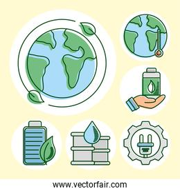 world planet with eco and earth set line and fill icons