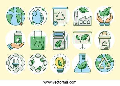 bundle of fifteen eco and earth line and fill style set icons