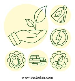 hand lifting plant with eco and earth set line icons