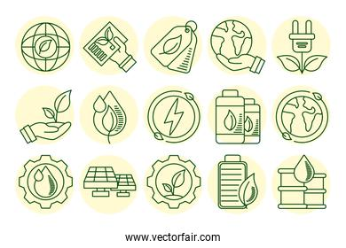bundle of fifteen eco and earth line style icons