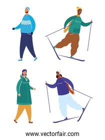 interracial people wearing winter clothes practicing ski