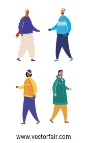 interracial people group wearing winter clothes characters
