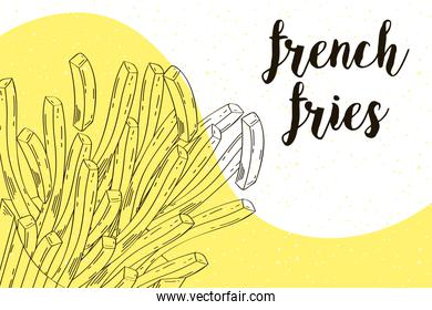 delicious french fries fast food drawn and lettering