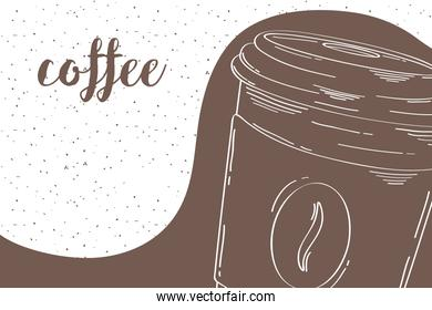 delicious coffee in plastic container drawn and lettering