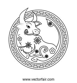 chinesse New Year ox animal in circular frame