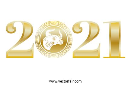 chinesse New Year ox head in number zero of 2021 golden