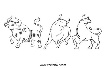 chinesse New Year oxen animals line style icon