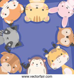 cute eight animals comic characters