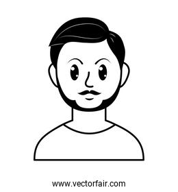 cartoon man with beard and mustache, line style