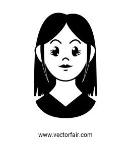 cartoon young woman with long hair, vector illustration