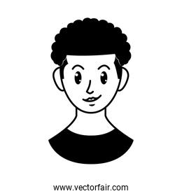 cartoon woman with afro hair, line style