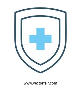 shield with medical cross icon, line style