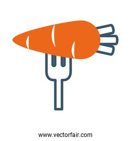 fork with a carrot, line style