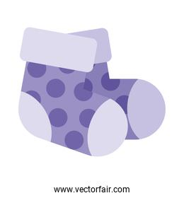 baby purple socks icon, colorful design