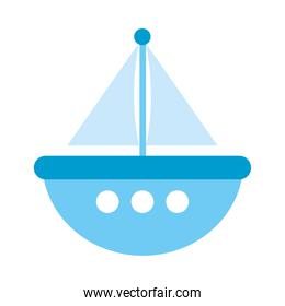 blue ship toy icon, flat style