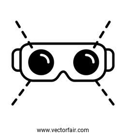 augmented reality design, virtual reality glasses icon, line style