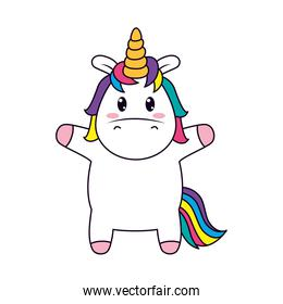 icon of cute unicorn standing, line and fill style