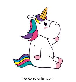 icon of cute unicorn sitting, line and fill style