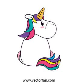 unicorn sitting back, line and fill style