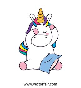 cute unicorn with a pillow, line and fill style