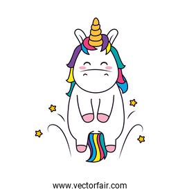 cute unicorn with stars around, line and fill style
