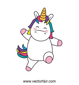 cute and funny unicorn icon, line and fill style