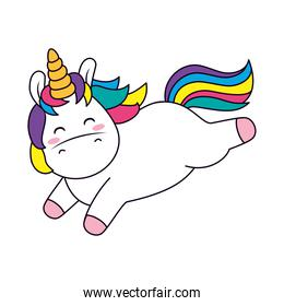 cute unicorn jumping, line and fill style
