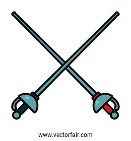 fencing swords icon, line and fill style