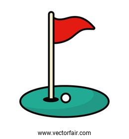 golf flag, hole and ball, line and fill style