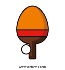 table tennis racket and ball, line and fill style