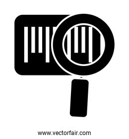bars code and magnifying glass icon, silhouette style