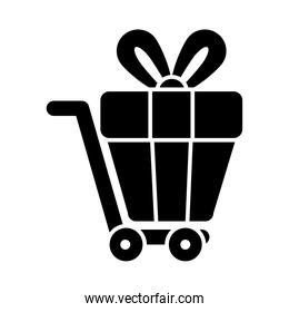 cart with gift box, silhouette style
