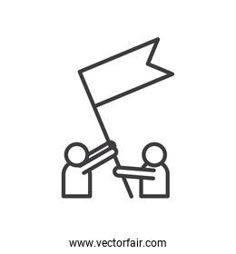 Businesspeople avatars with flag vector design