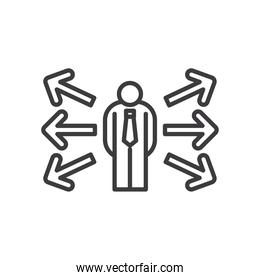 Businessman avatar with arrows vector design
