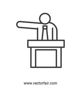 Businessman avatar on podium vector design