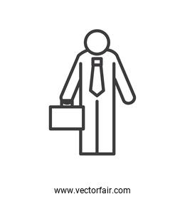 Businessman avatar with suitcase vector design