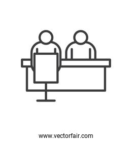 Businesspeople avatars at desk vector design