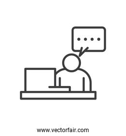 Businessman avatar on desk with communication bubble vector design