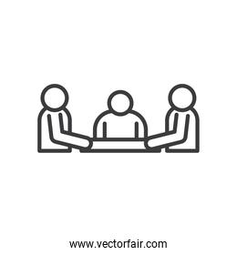 Businesspeople avatars sitting on table vector design