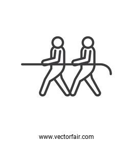 Businesspeople avatars with rope vector design