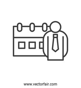 Businessman avatar with calendar vector design