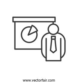 Businessman avatar with pie chart vector design