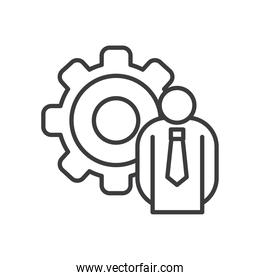 Businessman avatar with gear vector design
