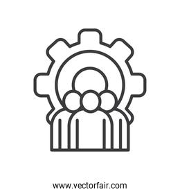Businesspeople avatars with gear vector design