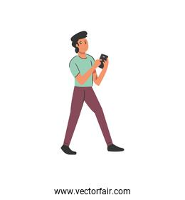 man with smartphone chatting vector design